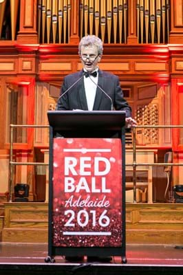 Channel seven's Tim Noonan entertains guests as host of Red Ball Adelaide in 2016.
