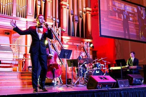 The Voice winner Harrison Craig entertains guests at the inaugural Red Ball Adelaide.