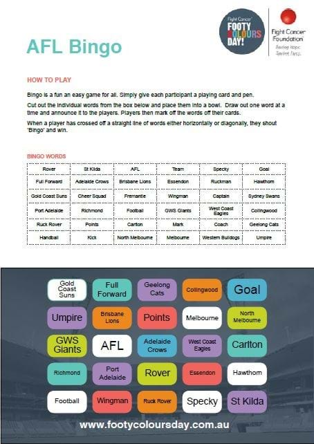 Footy Colours Day AFL Bingo