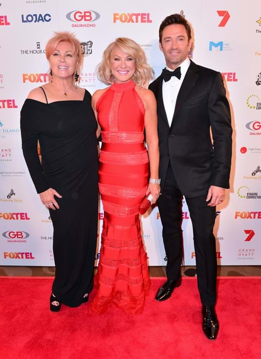 Deborra-lee Furness, Hugh Jackman and Kerri-Ann Kennerly on the Red Ball Melbourne red carpet.