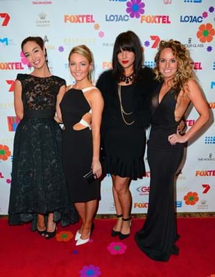 Channel ten stars of The Bachelor on the Red Ball Melbourne red carpet for Fight Cancer Foundation.