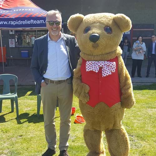 Eric Wright, Fight Cancer Foundation Managing Director with Bo Bear, Fight Cancer Foundation Mascot