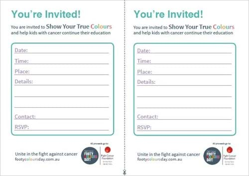 Footy Colours Day Event Invitation