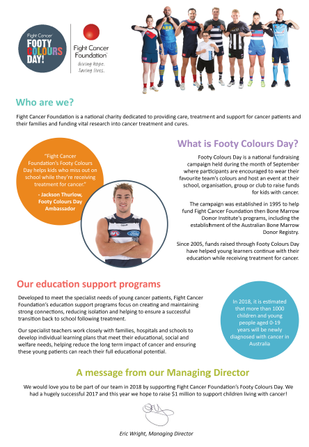 Background Info on Fight Cancer Foundation Footy Colours Day