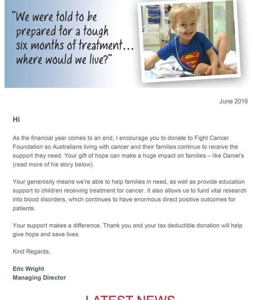 Fight Cancer Foundation June E-News