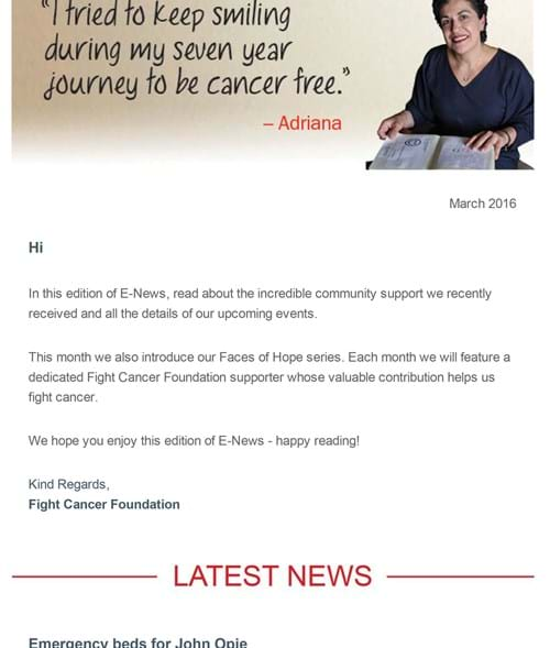Fight Cancer Foundation March E-News