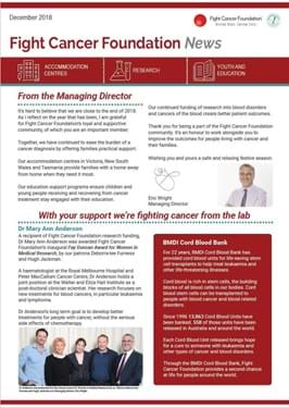 Fight Cancer Foundation News December