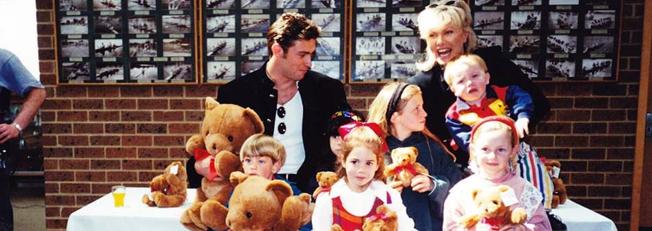 Fight Cancer Foundation patrons Deborra-lee Furness and Hugh Jackman promoting the sale of Bo the marrow donor Bear