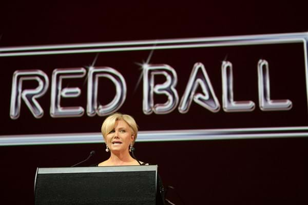 Fight Cancer Foundation Patron Deborra-lee Furness speaks to guests at Red Ball Melbourne 2009.