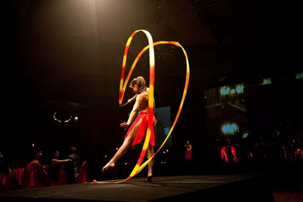 Rhythmic gymnastics performance captivates guests at Fight Cancer Foundation's Red Ball Melbourne.