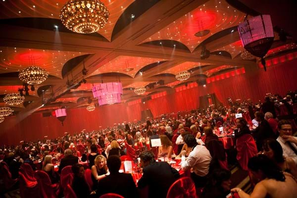 Guests fill the Crown Palladium ballroom for Fight Cancer Foundation's annual Red Ball gala event.