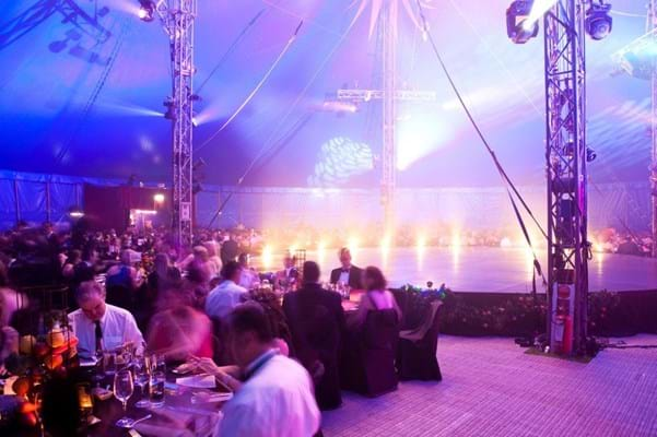 Guests dine under the Big Top at Fight Cancer Foundation's 2011 Red Ball for people living with cancer.