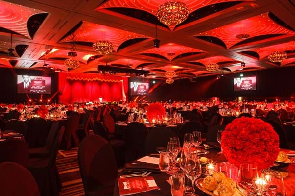 The Crown Palladium ballroom transformed for Fight Cancer Foundation's Red Ball extravaganza.