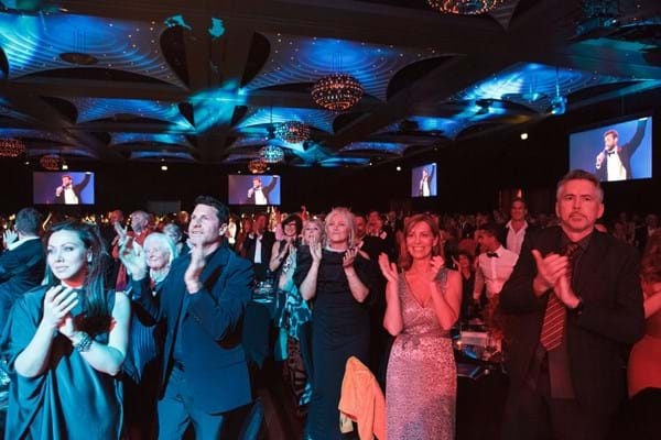 Red Ball Melbourne audience standing ovation for Fight Cancer Foundation Patron Hugh Jackman.