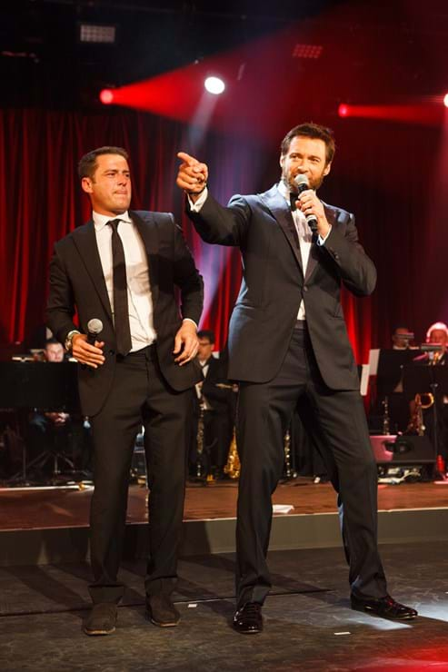 Hugh Jackman and Karl Stefanovic ham it up on stage for Fight Cancer Foundation's fundraising event Red Ball.
