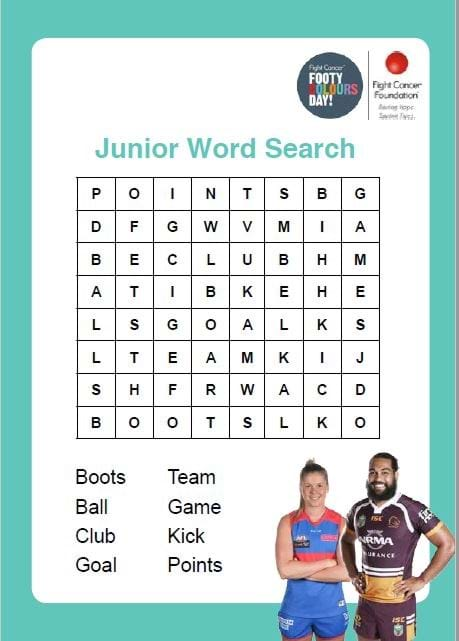 Footy Colours Day Word Search