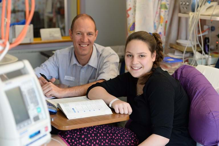 Young cancer patient receiving education support at The Children's Hospital at Westmead