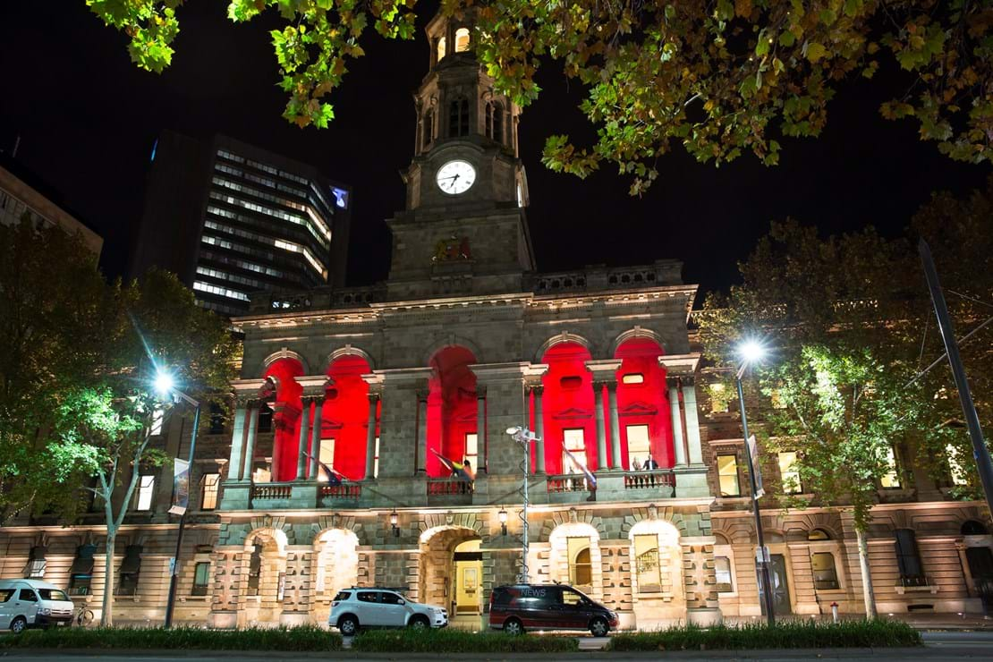 Adelaide Town Hall lit up in Red for Red Ball Adelaide 2017!