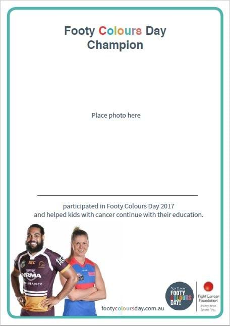 Footy Colours Day Participation Certificate