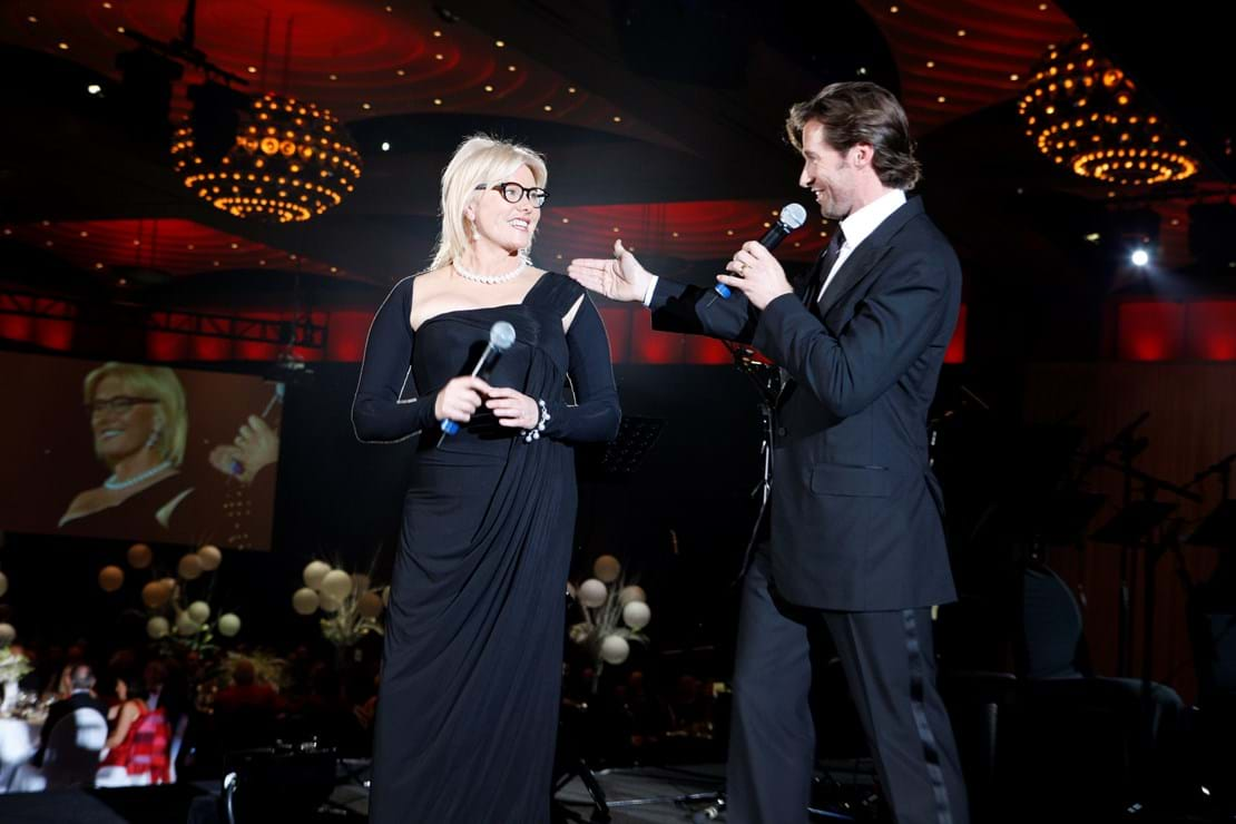 Red Ball Melbourne hosts and Patrons of Fight Cancer Foundation Deborra-lee Furness and Hugh Jackman.